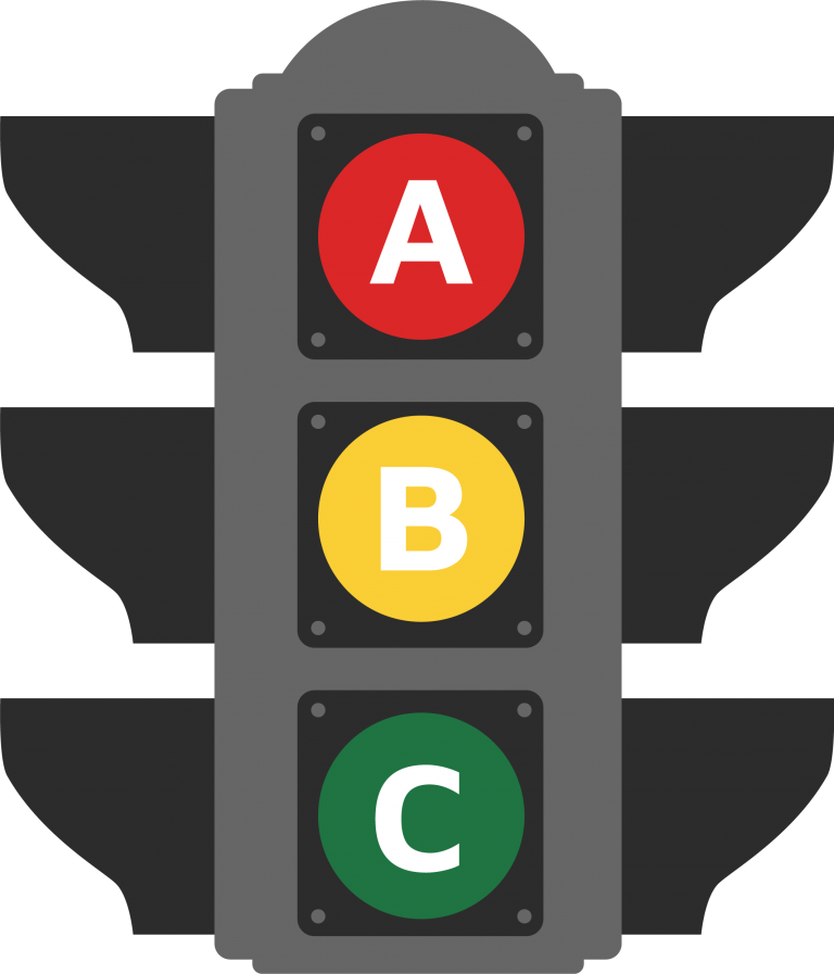 ABC Driving School traffic light logo.